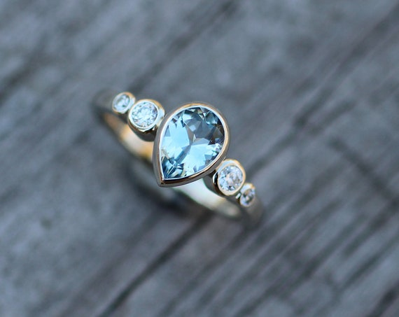 Aquamarine and Diamond Multi Bezel Engagement Ring - Aquamarine Pear Ring - Aquamarine Tear Drop Ring - Alternative Engagement Ring
