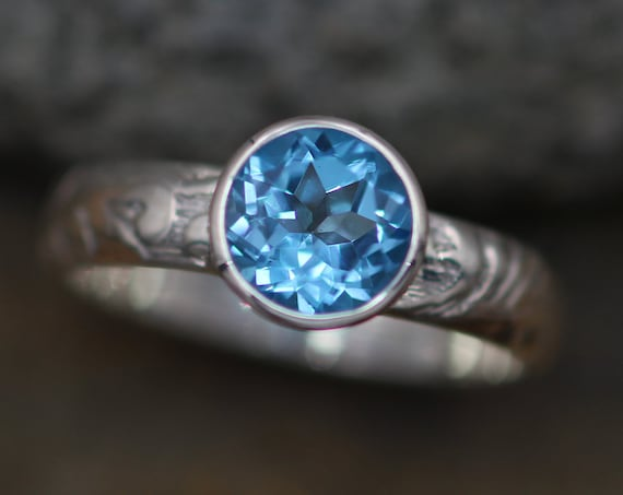 Swiss Blue Topaz Bezel Ring with Floral Texture band - 7mm Glossy Finish- Solitaire Ring - Round Topaz Ring - Engravable Ring - Engagement