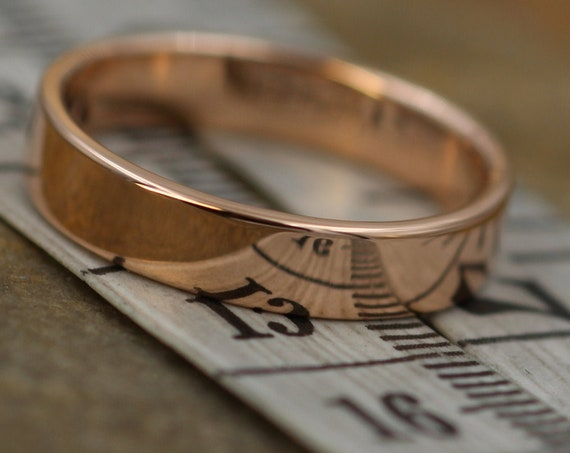 14kt Rose Gold 4x1.2mm Wide Band -Glossy Finish - Mens or Womens Wide Band - Medium Profile Gold Ring - Rose Gold Band - Pink Gold Wedding