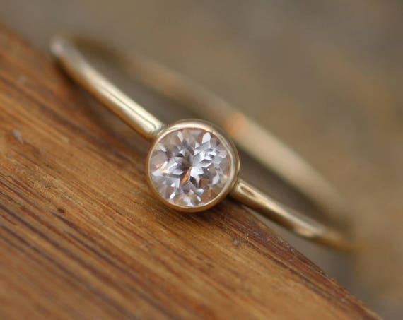 White Topaz 4mm Skinny Gold Stacking Ring - Glossy Finish - Topaz Gold Stacking Ring - Round Stacking Ring - Hammered Gold Stacking Ring