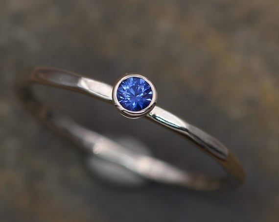 Ceylon Sapphire 3mm White Gold Stacking Bezel Ring - Glossy Finish - Hand Made in Gold -  Sapphire Bezel Ring