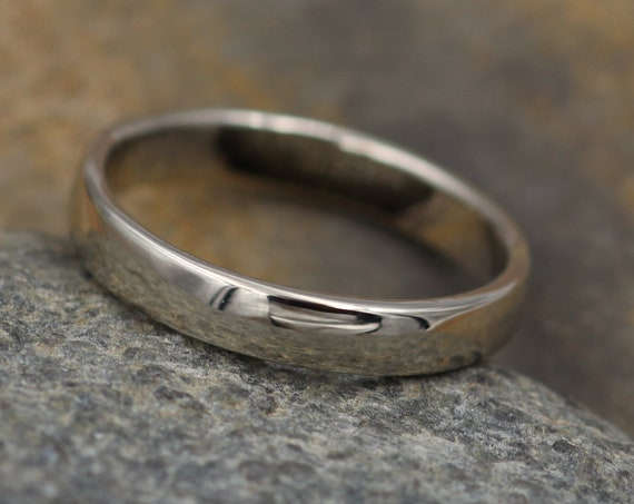 Rectangular White Gold Ring 3.5x1.4mm, Glossy Finish - Simple Wedding Band - Smooth Texture Flat Band hand made in 14 kt white gold