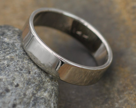 14kt White Gold 5x1.2mm Wide Band - Glossy Finish - Mens Wide Band - Low Profile Gold Ring - White Gold Band