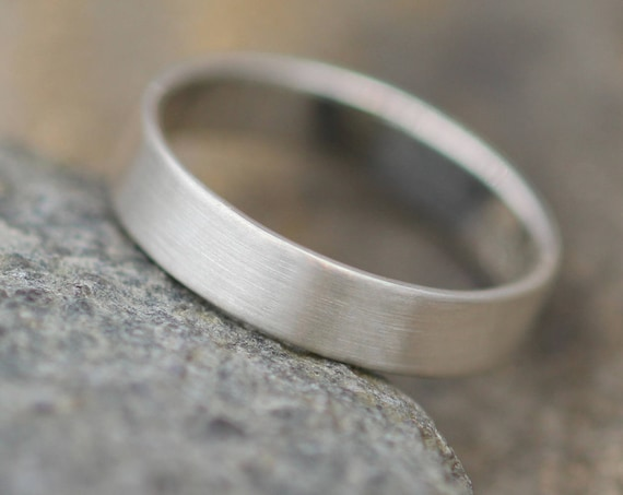 Sterling Silver Flat Wide Band  READY TO SHIP- 4x1mm Matte Finish - Mens Wide Band - Thin Silver Ring - Silver Band - Low ProfileBand