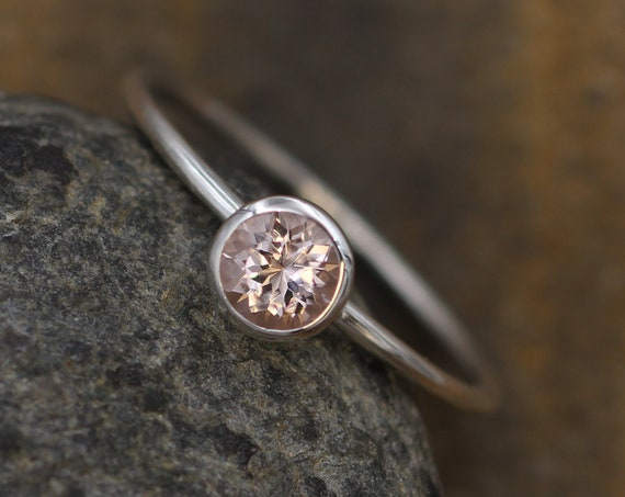 Morganite White Gold 5mm Round Glossy Stacking Ring - 1.2 mm Band - Pink Morganite Ring - Stacking Ring -  Morganite Solitaire Ring