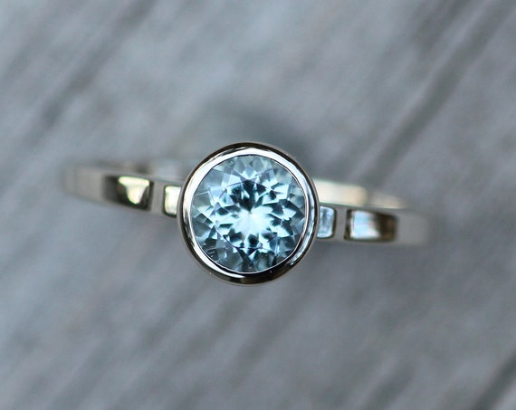 Aquamarine 6mm White Gold Bezel Ring - Aquamarine Solitaire Ring - Round Aquamarine Ring - Alternative Engagement Ring