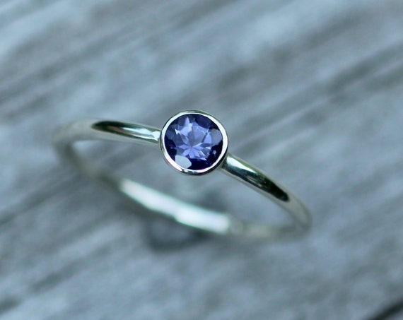 Iolite Bezel Ring - Iolite Stacking Ring - Iolite Solitaire Ring - Handmade in Silver or Gold - Select Grade Iolite - Iolite Ring