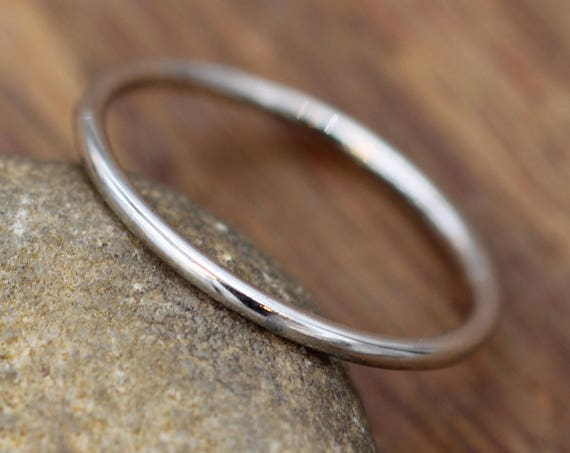 Platinum Round Band - 1.2mm Glossy Finish - Round Platinum Stacking Ring - Dainty Platinum Band - Skinny Platinum Ring