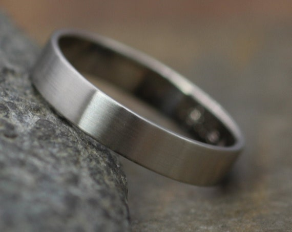 18kt White Gold Matte 4x1mm Wide Band - Men or Womens Wide Band - Thin Gold Ring - White Gold Band - Low Profile Gold Band