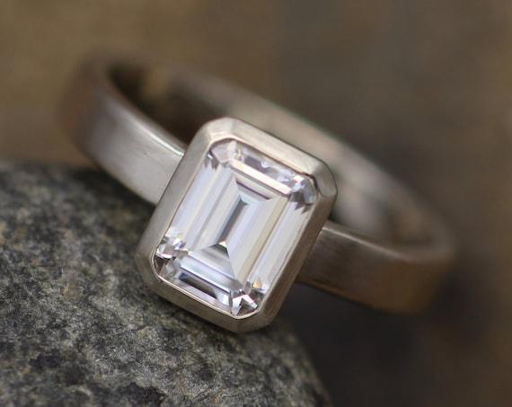 Moissanite Octagon 6x8mm Bezel Ring -  Alternative Engagement Ring - 1.6ct Moissanite - Moissanite Bezel - Matte Finish - Forever One