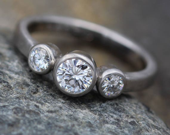 Moissanite Bezel Matte  Palladium Ring - Forever One Moissanite Engagement Ring - Palladium Moissanite Engagement  - Alternative Engagement