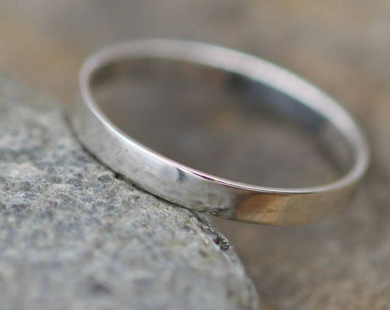 Sterling Silver or Gold Wide Band - 3x1mm Glossy Finish - Hand Made in Sterling Silver - Mens Wide Band - Thin Silver Ring - Silver Band