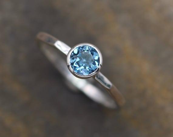 London Blue Topaz Bezel Stacking Ring - 1.5mm band - Silver or Gold Stacking Ring - Bezel Ring - Topaz Bezel Ring - Topaz Stacking Ring