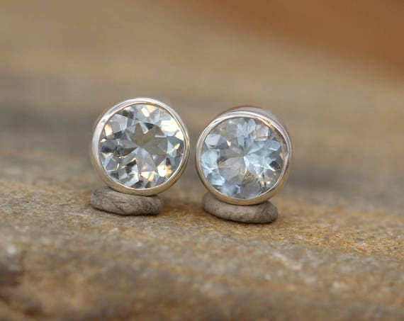 Aquamarine Studs - Aquamarine Round Earrings - Aquamarine Stud Earrings - Aquamarine Earrings - Aquamarine