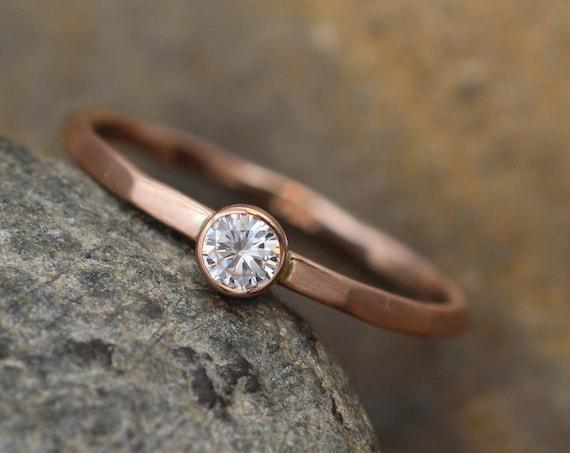 Moissanite 3mm Matte Bezel Stacking Ring - Rose Gold Moissanite Bezel Ring - Rose Gold Moissanite Stacking Ring - Forever one Stackable