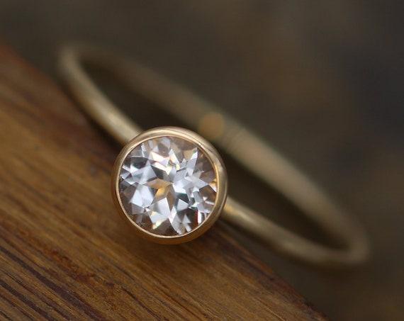 White Topaz 5mm Skinny Gold Stacking Ring - Glossy Finish - Topaz Gold Stacking Ring - Round Stacking Ring - Hammered Gold Stacking Ring