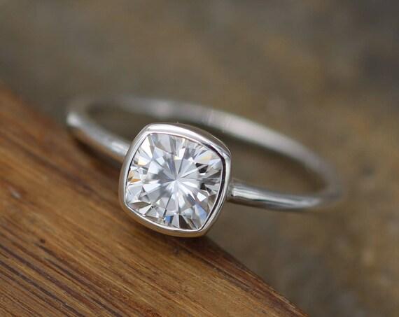 Moissanite Cushion Cut Bezel White Gold Solitaire Ring - 6x6mm Forever One Moissanite - Glossy Moissanite Ring - Moissanite Solitaire