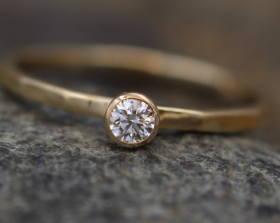 Diamond Stacking Ring - 3mm, Glossy Finish, 0.11 ct - Engagement Ring - Diamond Gold Stacking Ring - VS Ring