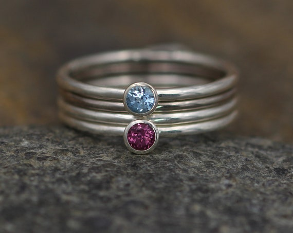Aquamarine and Garnet Silver & Palladium White Gold Bezel Stacking Ring Set - 3mm round, 1.4mm bands - Stacking Ring