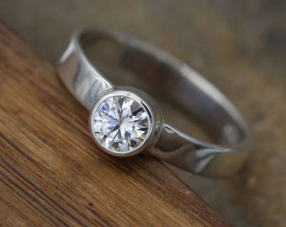 Moissanite 5mm Glossy Bezel Engagement Ring  - Wide Band - Silver or Gold - Traditional Style Ring - Hand Fabricated - Solitaire Ring