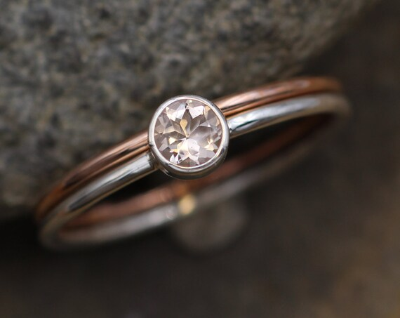Morganite 4mm Stacking Ring Set in Silver and Rose Gold -  Stacking Ring - 1.2 mm Band - Pink Morganite Ring -  Morganite Ring Set