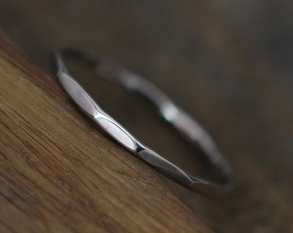 Platinum Hammered Band - 1.2mm Glossy Finish - Faceted Platinum Stacking Ring - Dainty Platinum Band - Skinny Platinum Ring