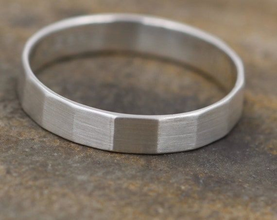 Sterling Faceted Wide Band - 4x1mm Matte Finish - Hand Made in Sterling Silver - Mens Wide Band - Wide Silver Ring - Silver Band