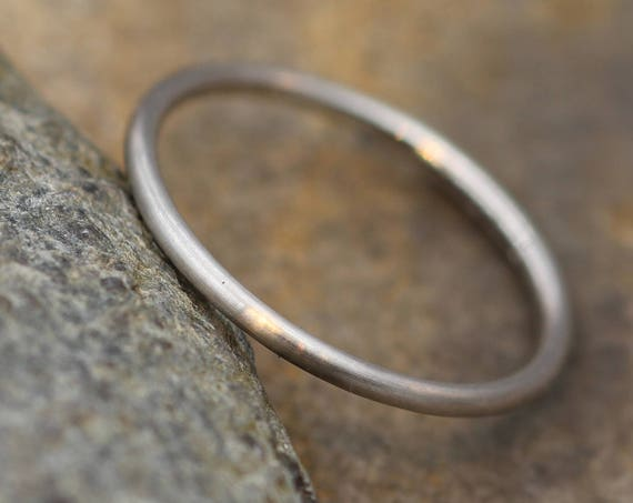 Matte Platinum Round Band - 1.2mm - Round Platinum Stacking Ring - Dainty Platinum Band - Skinny Platinum Ring