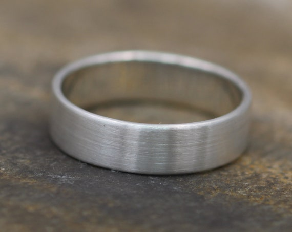 Sterling Silver Wide Band - 5x1mm Matte Finish - Mens Wide Band - Thin Silver Ring - White Gold Band - Low Profile Silver Band