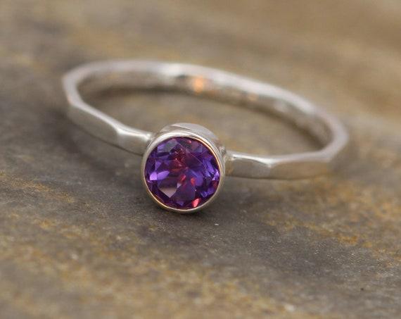 Amethyst Round Ring - 5mm, Glossy Finish - Skinny Stacking Ring - Stacking Band - Stackable - Amethyst Silver