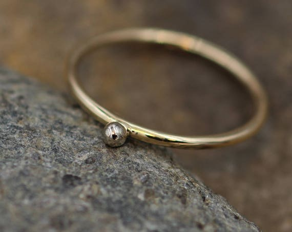14 Kt White and Yellow Gold 1.2mm Dot Stacking Ring - White Gold Bead Stacking Ring - Solid 14 kt Yellow Gold - Stacking Band