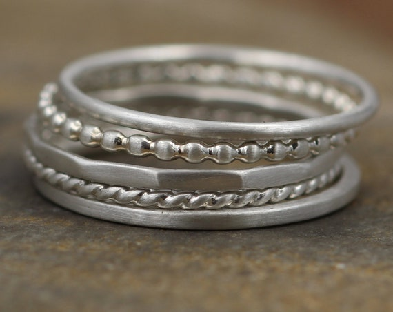 Silver Stacking Ring Set, 1.2mm Matte Finish - 5 Rings - Thick Silver Ring Set - Hand Made in Argentium *Special*