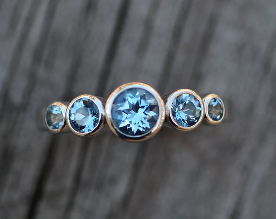 Aquamarine Platinum Multi Bezel Ring - Aquamarine Bezel Engagement Ring - Alternative Engagement Ring - Platinum Ring