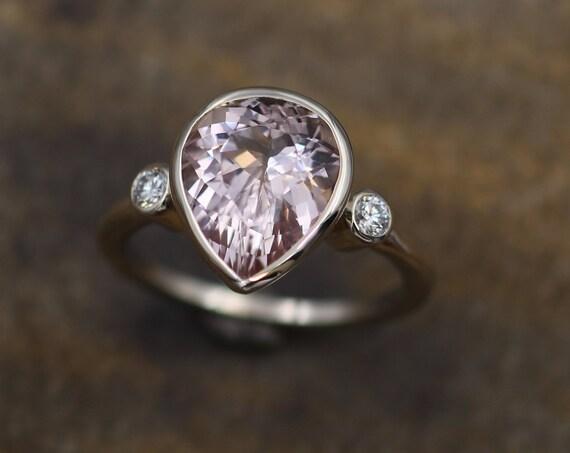 Morganite Pear Bezel Ring - 9x11mm Morganite - Morganite and Diamond Ring - Canadian Diamond Ring - Conflict Free Ring