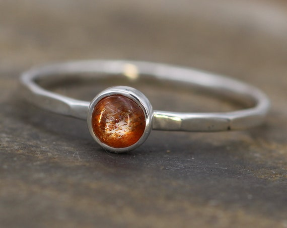 Sunstone Stacking Ring - Skinny Sunstone Ring - Hammered Band - Round Sunstone Ring - Silver Sunstone Ring
