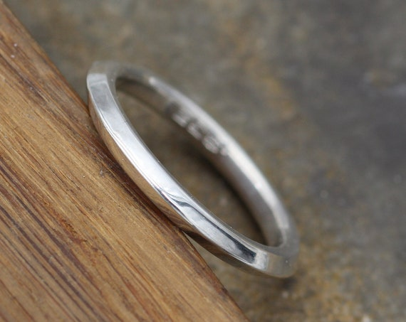 Silver Knife Edge 2.4mm Glossy Stacking Ring in Argentium - Simple Band - Knife Band - Argentium Stacking Rings - Silver Knife Edge Band