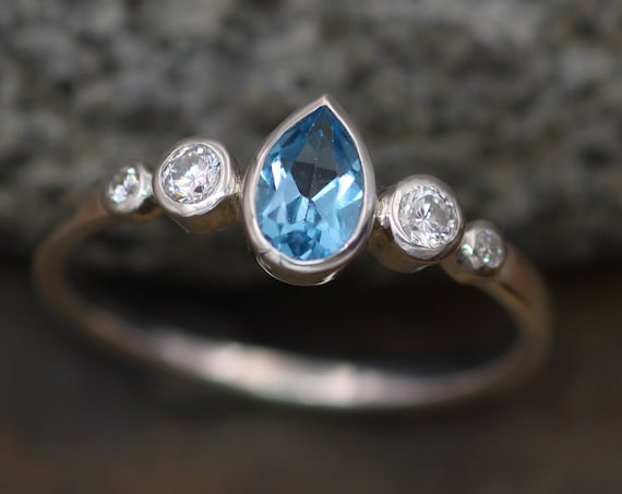 Swiss Blue Topaz and Diamond Multi Bezel Engagement Ring - Swiss Blue Topaz Pear Ring - Swiss Blue Topaz Tear Drop Ring - Alternative Ring