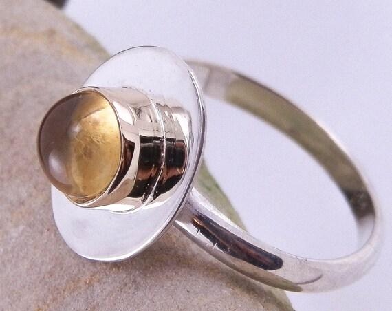 Citrine Ring - Citrine stacking Ring - Citrine Bezel Ring - Citrine Silver & Gold Ring - Citrine Silver Ring - Citrine Sun Ring - Sun Ring