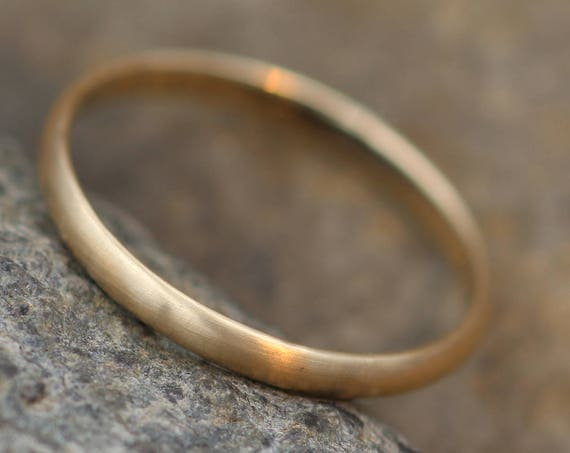 Yellow Gold 14kt 2x1mm Matte Finish Band - Simple Gold Band - Smooth Band - Engravable Band - Half Round Gold Band - 14 kt Yellow Gold