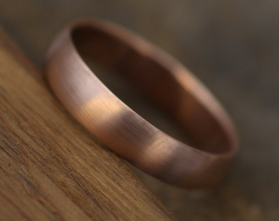 Wide Rose Gold Band 4.5x 1.5mm, Matte Finish , Comfortable Band - Smooth Band - Engravable Band - Half Round Pink Gold Band - Hand Made