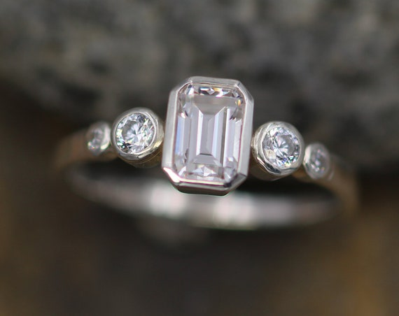 Moissanite Octagon White Gold Bezel Ring -  Alternative Engagement Ring 4x6mm, 0.5 ct -  Glossy Finish Bezel Ring - Forever One