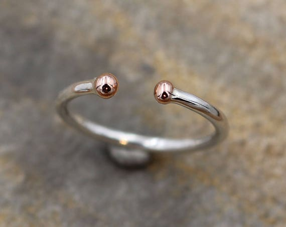 Rose Gold Dot 14 kt White Gold Thick Band - Open Band - Adjustable Ring - Rose Gold Ring - White and Rose Godl Ring - Open Ring
