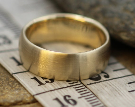 Very Wide 7x2mm 14kt Yellow Gold Matte Band , Comfort Fit - Smooth Band - Engravable Band - Half Round Gold Band - Hand Made