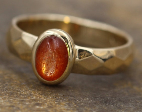 Sunstone Gold Glossy Oval Bezel Ring - Red Sunstone Gold Ring - Sunstone Recycled Ring - Sunstone Cab Ring - Gold Sunstone Ring -  Bezel