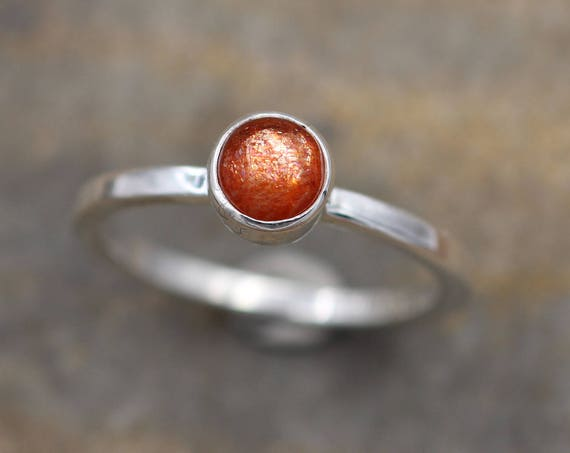 Sunstone Stacking Ring - Sunstone Ring in Silver or Gold - Glossy Finish - Round Sunstone Ring -  Select Grade Sunstone Ring