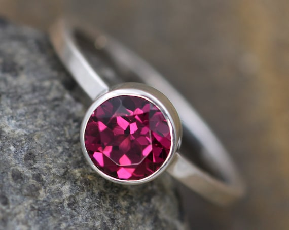Rhodolite Garnet 6mm Straight Bezel Ring - Rhodolite Stacking Ring - Rhodolite Garnet Engagement Ring - Rhodolite Round Ring