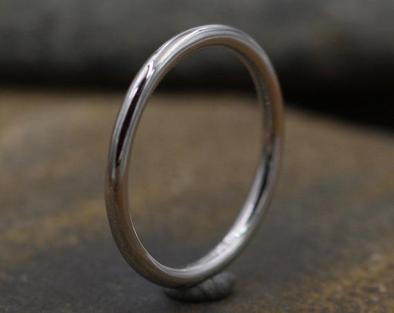 Platinum Round 1.8mm Band - Glossy Finish - Thick Platinum Stacking Ring - Mid Weight Platinum Band