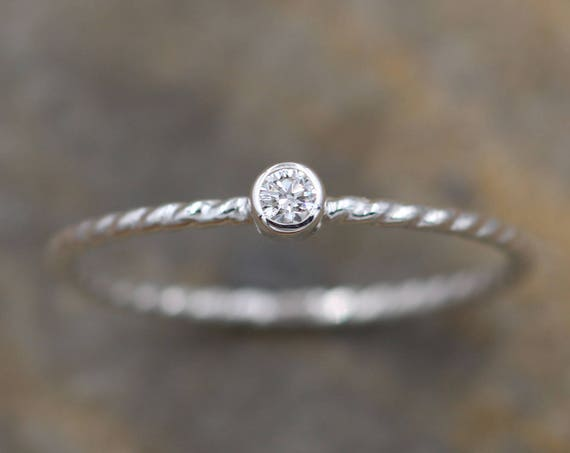 Diamond Round Stacking Ring - White Gold Diamond Ring - Diamond Nautical Ring - Diamond Twist Ring - Diamond Rope Ring