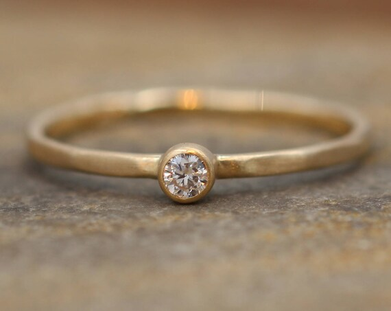 Diamond VS Stacking Ring Matte Finish - 2.5 mm, 0.05 ct - Engagement Ring - Diamond Gold Stacking Ring - VS Ring
