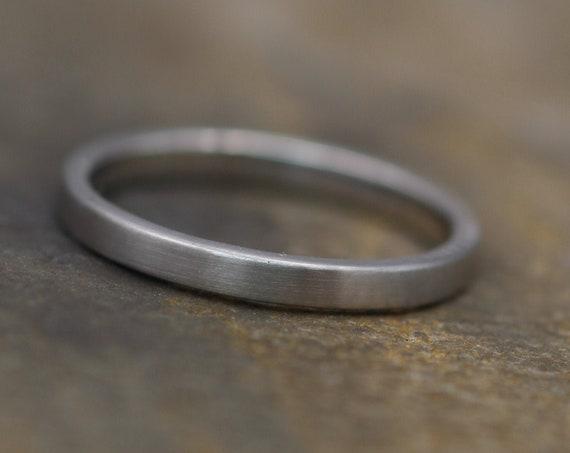 Platinum Ring  2x1.2mm Flat Matte - Platinum Ring - Platinum Wedding Ring - Platinum Stacking Ring - Engravable Platinum